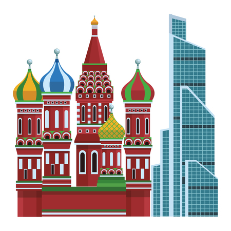 St. basil's cathedral and internacional trade center of russia in white background vector illustration graphic design Illustration