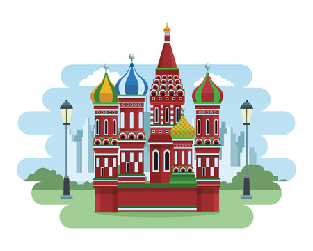 St. basil's cathedral with park and cityscape vector illustration graphic design