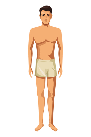 uomo con biancheria intima corpo pieno in sfondo bianco illustrazione vettoriale graphic design Vettoriali