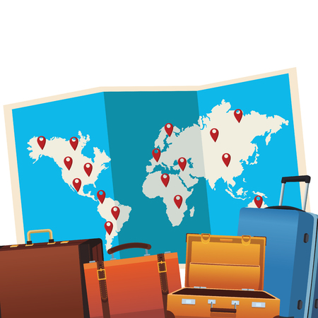 travel briefcase icon with baggage and map in white background vector illustration graphic design 일러스트