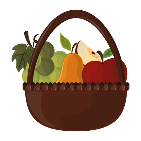 thanksgiving day fruit basket in white background vector illustration graphic design
