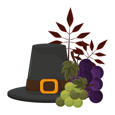 thanksgiving day pilgrim hat with grapes in white background vector illustration graphic design  イラスト・ベクター素材