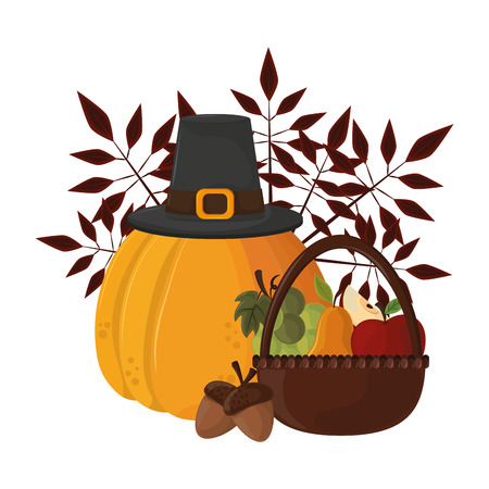 thanksgiving day pumpkin with pilgrim hat and fruit in white background vector illustration graphic design