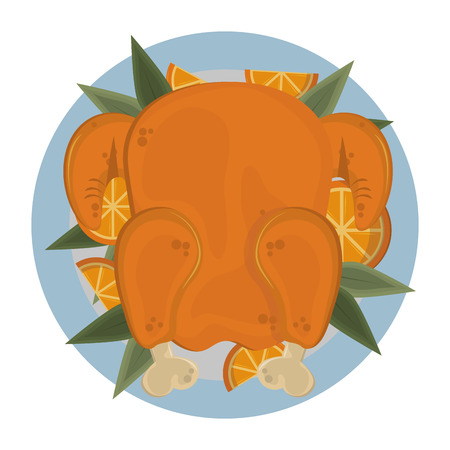 thanksgiving roasted turkey with orange vector illustration graphic design  イラスト・ベクター素材