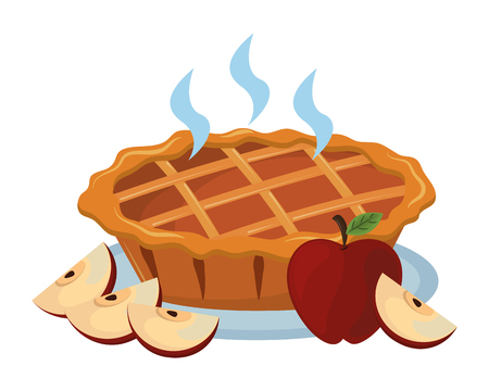 thanksgiving day pie apple with white background vector illustration graphic design