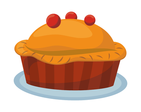 thanksgiving day pie pumpkin in white background vector illustration graphic design