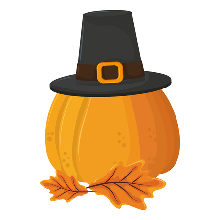 thanksgiving day pumpkin with pilgrim hat in white background vector illustration graphic design  イラスト・ベクター素材