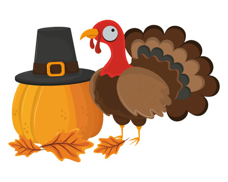 thanksgiving day turkey and pumpkin with pilgrim hat in white background vector illustration graphic design  イラスト・ベクター素材
