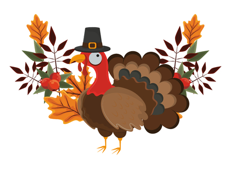 thanksgiving day turkey with pilgrim hat and autumn leaves in white background vector illustration graphic design Vectores