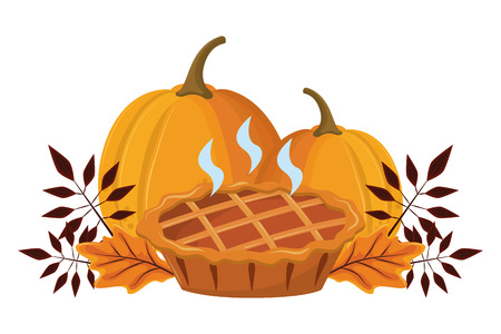 thanksgiving day pie pumpkin with autumn leaves in white background vector illustration graphic design  イラスト・ベクター素材