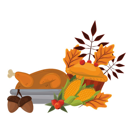 thanksgiving day dinner with roasted turkey pie and cob vector illustration graphic design