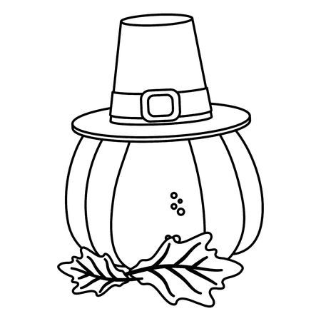 thanksgiving day pumpkin with pilgrim hat drawing in white background vector illustration graphic design 写真素材 - 127133444