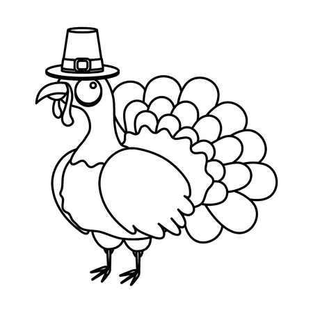 thanksgiving day turkey with pilgrim hat drawing in white background vector illustration graphic design