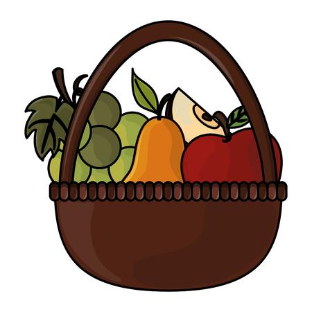 thanksgiving day fruit basket in white background vector illustration graphic design