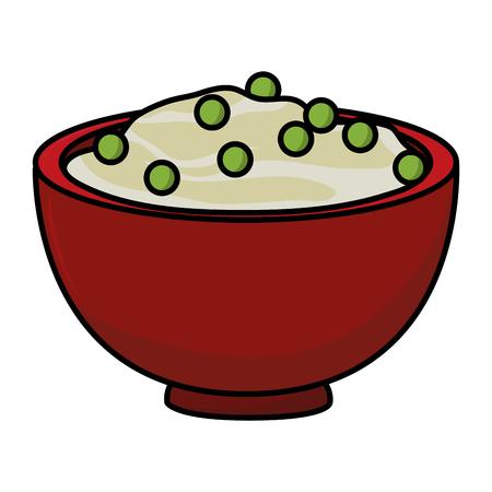 Thanksgiving day dîner purée de pommes de terre en fond blanc vector illustration graphic design