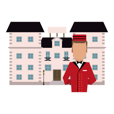 bellboy avatar with hotel building vector illustration graphic design
