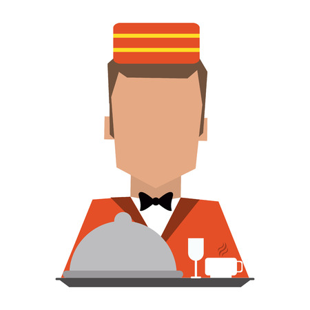 bellboy with dis dome and cups avatar vector illustration graphic design