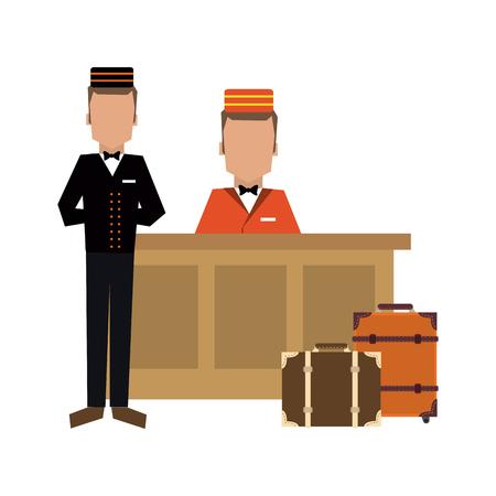Bellboy avec bagages à la réception vector illustration graphic design