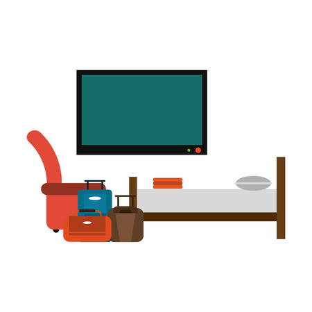 Hotel suite with bed and luggage vector illustration graphic design 일러스트