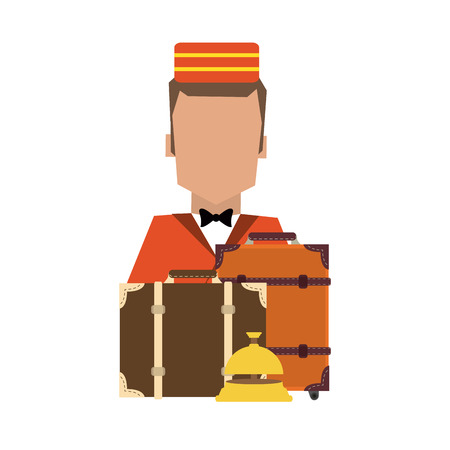 bellboy with luggage avatar profile vector illustration graphic design Illustration