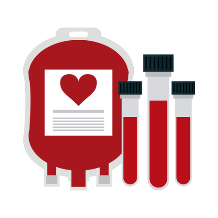 Blood donation bag and test tubes vector illustration graphic design