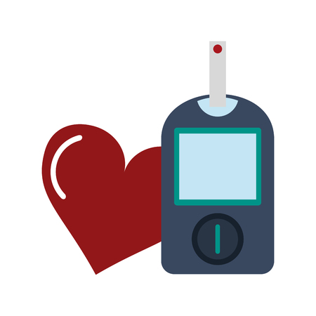 Glucometer blood test with heart symbol vector illustration graphic design
