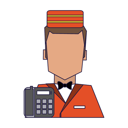 bellboy and telephone avatar symbol vector illustration graphic design