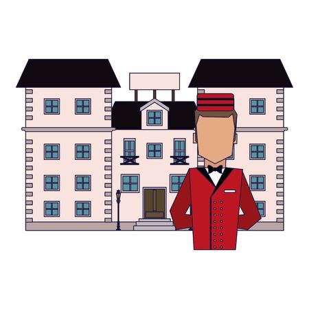bellboy avatar with hotel building vector illustration graphic design