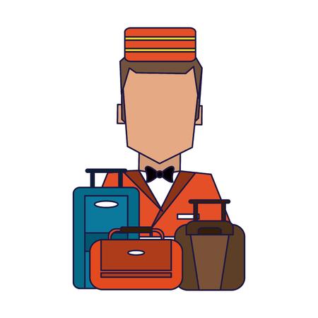 bellboy with luggage avatar profile vector illustration graphic design Illusztráció