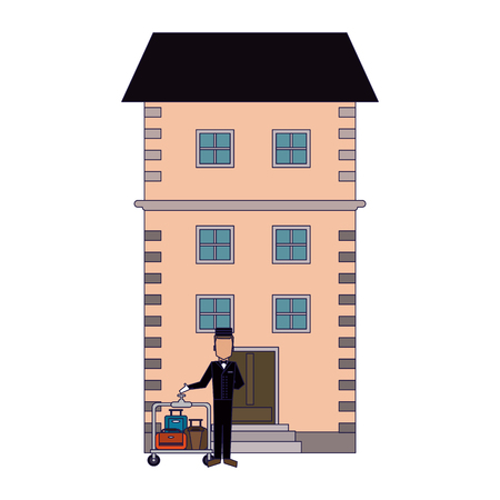 bellboy with luggage outside hotel building vector illustration graphic design Illusztráció