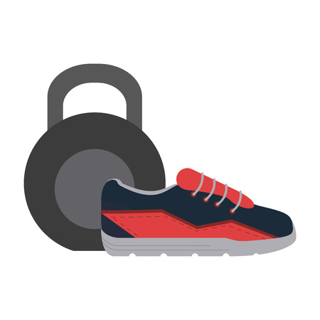 Gym and fitness kettlebell and shoe elements vector illustration graphic design Çizim