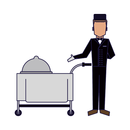 bellboy with restaurant food cart vector illustration graphic design