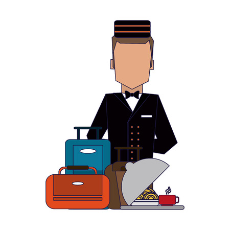 bellboy with luggage and restaurant dish service vector illustration graphic design