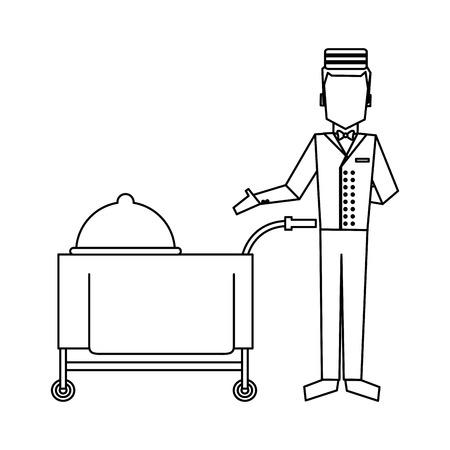 bellboy with restaurant food cart vector illustration graphic design