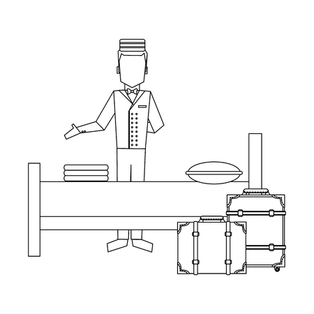 Bellboy with luggage and hotel bed vector illustration graphic design