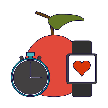 Gym and fitness apple and smartwatch with clock elements vector illustration graphic design