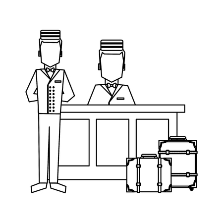 Bellboy with luggage at reception vector illustration graphic design Stock fotó - 127138471