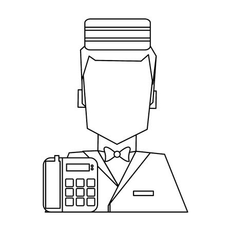 bellboy and telephone avatar symbol vector illustration graphic design