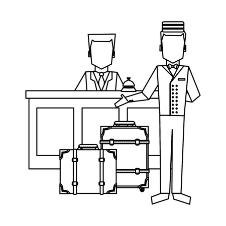 Bellboy with luggage at reception vector illustration graphic design