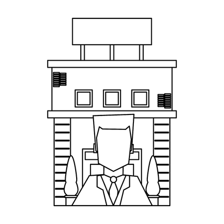 Recepcionist and hotel building symbol vector illustration graphic design