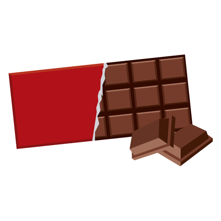 Delicious chocolate bar isolated vector illustration graphic design