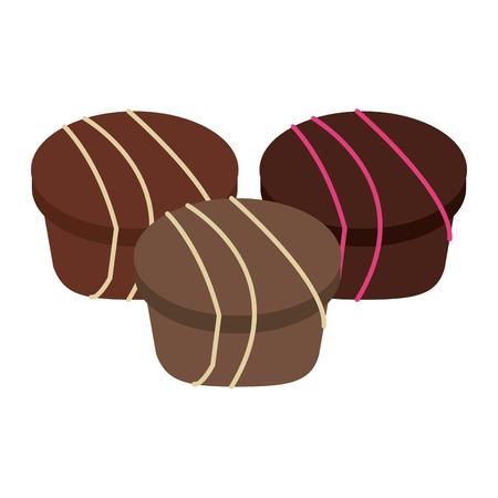 Set of tasty chocolates snacks vector illustration graphic design