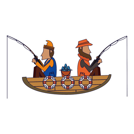 Fishermen in boat with rods vector illustration graphic design