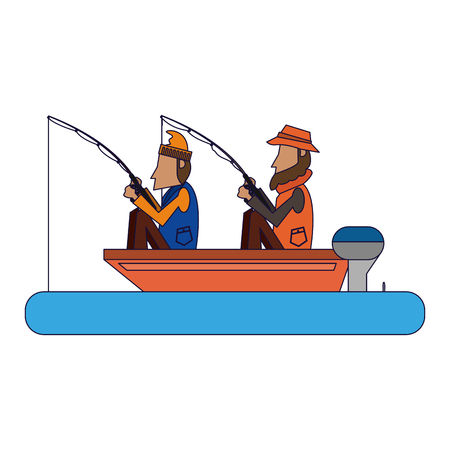 Fishermen in boat with rods vector illustration graphic design  イラスト・ベクター素材