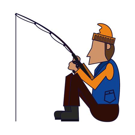 Fisherman with rod cartoon vector illustration graphic design