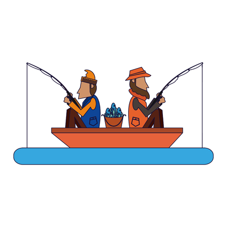 Fishermen in boat with rods vector illustration graphic design Stock Illustratie