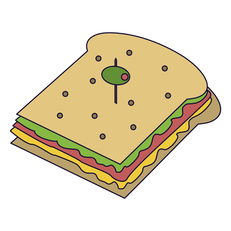 Delicious sandwich with olive food vector illustration graphic design Çizim