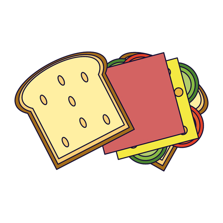 Delicious sandwich open topview food vector illustration graphic design