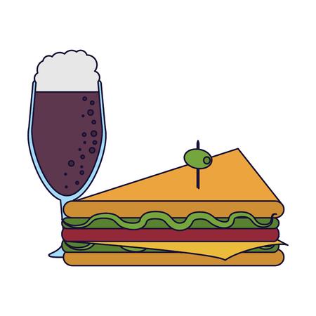 Delicious sandwich with soda food vector illustration graphic design