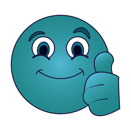 Chat round emoji with thumb up emoticon vector illustration graphic design